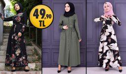 ModaMerve 49,90 TL Ucuz Günlük Tesettür Elbise Modelleri 9 | Moda Merve Elbise Modelleri 2021