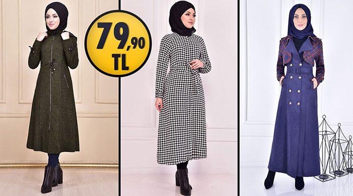 ModaMerve 79,90 TL İndirimli Tesettür Kaban Modelleri 2 [ 2021 Kış Sezonu ]   Most Fashionable Coats