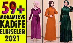 59+ Kadife Tesettür Elbise Modeli 1 [ ModaMerve 2021 Kış ] The Most Fashionable Velvet Dress