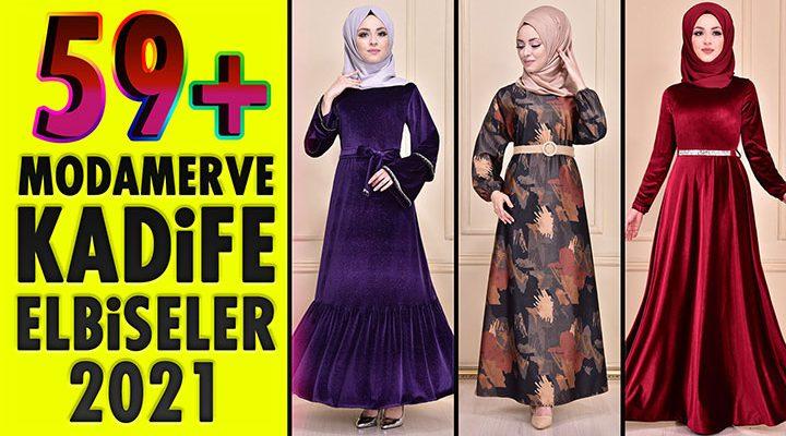 59+ Kadife Tesettür Elbise Modeli 2 [ ModaMerve 2021 Kış ] The Most Fashionable Velvet Dress