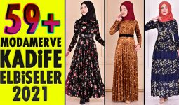 59+ Kadife Tesettür Elbise Modeli 3 [ ModaMerve 2021 Kış ] The Most Fashionable Velvet Dress