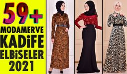 59+ Kadife Tesettür Elbise Modeli 4 [ ModaMerve 2021 Kış ] The Most Fashionable Velvet Dress