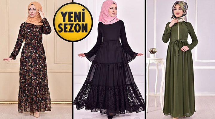 Yeni Sezon ModaMerve Günlük Şifon Tesettür Elbise Modelleri 20   Chiffon Dresses - Chiffon Kleid