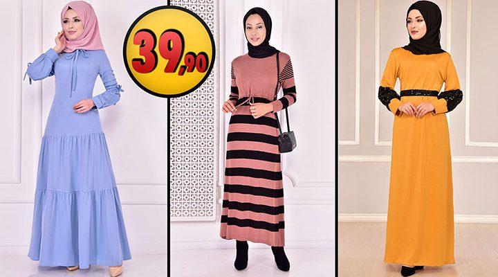 ModaMerve 39,90 TL Günlük Tesettür Elbise Modelleri 1 [2021 OCAK]   Modamerve Elbise Modelleri 2021