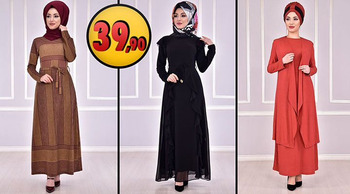 ModaMerve 39,90 TL Günlük Tesettür Elbise Modelleri 3 [2021 OCAK] | Modamerve Elbise Modelleri 2021