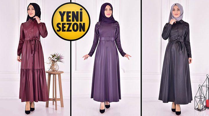 ModaMerve Deri Tesettür Elbise Modelleri 1 [2021 Kış] | The Most Fashionable Hijab Leather Dress