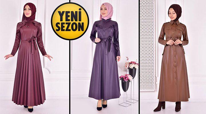 ModaMerve Deri Tesettür Elbise Modelleri 2 [2021 Kış]   The Most Fashionable Hijab Leather Dress
