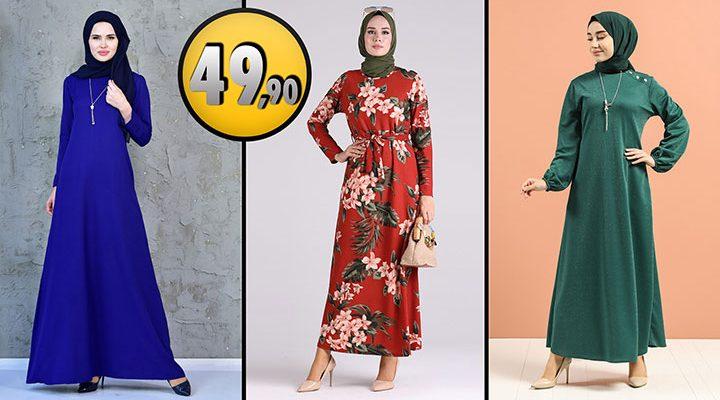Sefamerve 49,90 TL Günlük Tesettür Elbise Modelleri 1 [2021 OCAK]   Sefamerve Elbise Modelleri 2021
