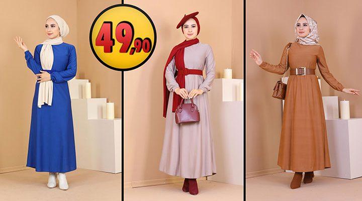 Eliza Moda 49,90 TL Günlük Tesettür Elbise Modelleri 3 [2021 MART]   ElizaModa Elbise Modelleri 2021