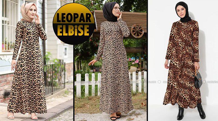 Leopar Elbise   2021 Leopar Tesettür Elbise Modelleri 1