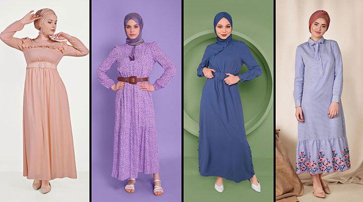 Alvina Günlük Tesettür Elbise Modelleri 8 (2021 İlkbahar & Yaz)   Trend Tesettür Elbise Modelleri