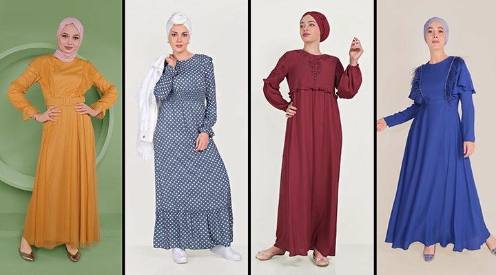 Alvina Günlük Tesettür Elbise Modelleri 9 (2021 İlkbahar & Yaz)   Trend Tesettür Elbise Modelleri