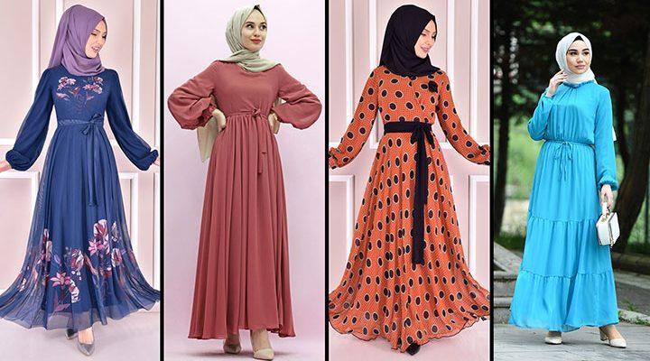 2021 Şifon Tesettür Elbise Modelleri 2   The Most Fashionable Chiffon Dresses of 2021