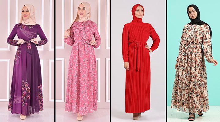 2021 Şifon Tesettür Elbise Modelleri 3   The Most Fashionable Chiffon Dresses of 2021