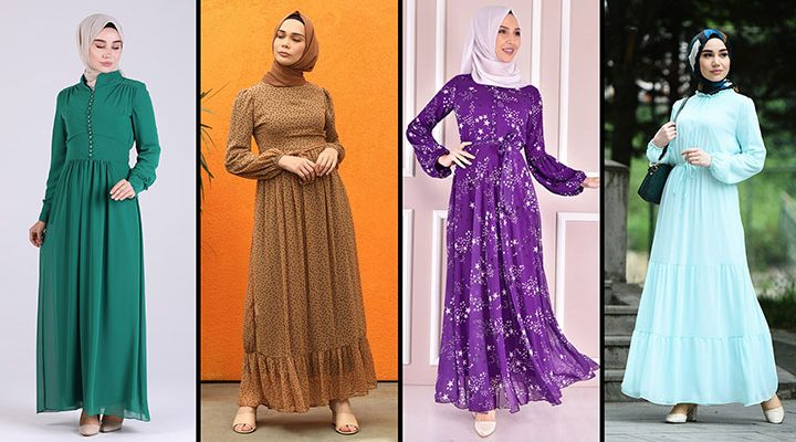2021 Şifon Tesettür Elbise Modelleri 4   The Most Fashionable Chiffon Dresses of 2021