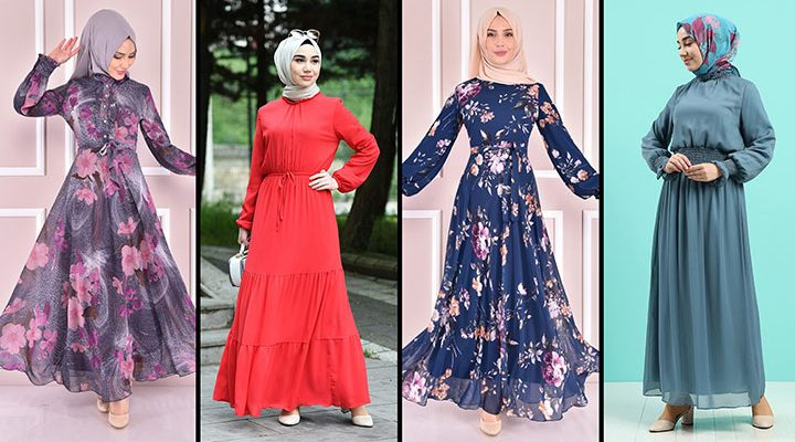2021 Şifon Tesettür Elbise Modelleri 5 | The Most Fashionable Chiffon Dresses of 2021