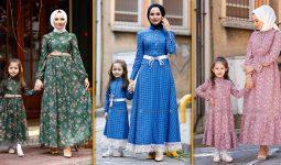 Anne Kız Tesettür Elbise Kombinleri 2021 | En Trend Modanisa Anne Kız Elbise Modelleri (1)