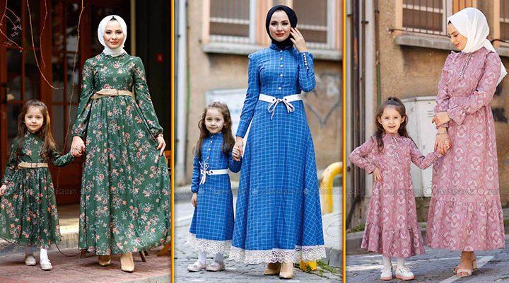 Anne Kız Tesettür Elbise Kombinleri 2021   En Trend Modanisa Anne Kız Elbise Modelleri (1)