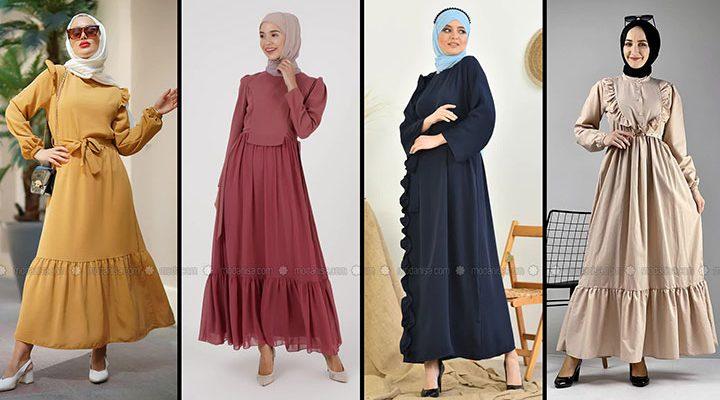 Ruffle Dress/Frill Dress/Ruffle Maxi Dress/Muslim Ruffle Dress/Designer Ruffle Dress/Hijab Dress (1)