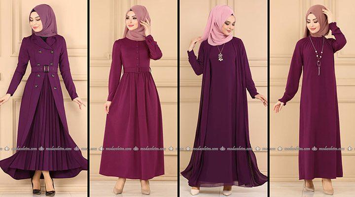 ModaSelvim Mürdüm Tesettür Elbiseler (2021 Sonbahar) | Fall Outfits - Wedding Dresses - Plus Size