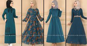 ModaSelvim Petrol Tesettür Elbiseler (2021 Sonbahar)   Fall Outfits - Wedding Dresses - Plus Size