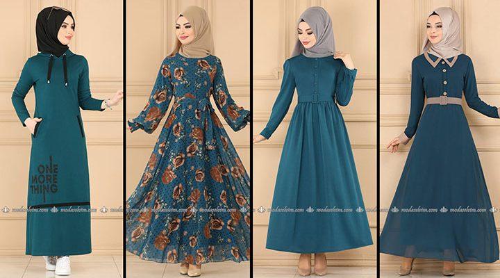 ModaSelvim Petrol Tesettür Elbiseler (2021 Sonbahar) | Fall Outfits - Wedding Dresses - Plus Size